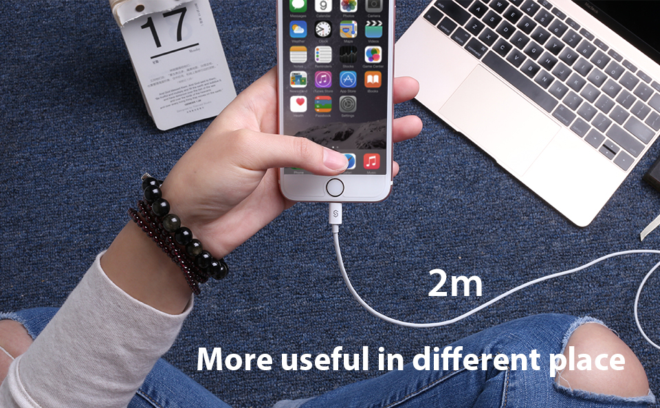 Nabijecí kabel iPHONE iPAD bíly 2M